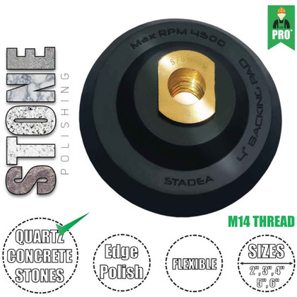 """Stadea Flexible Rubber Velcro Hook and Loop Backing Pad - 2"""", 3"""", 4"""", 5"""", 6"""" - Arbor M14, 1 Piece"""