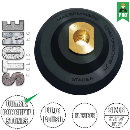 """Stadea Flexible Rubber Hook and Loop Backing Pad Velcro Pads - 2"""", 3"""", 4"""", 5"""", 6"""" - Arbor 5/8"""" 11, 1 Piece"""