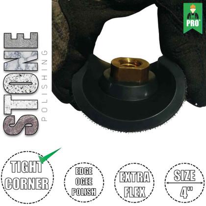 "Stadea Extra Flex Rubber 4"" Hook and Loop Velcro Backing Pad - Arbor 5/8"" 11, 1 Piece"