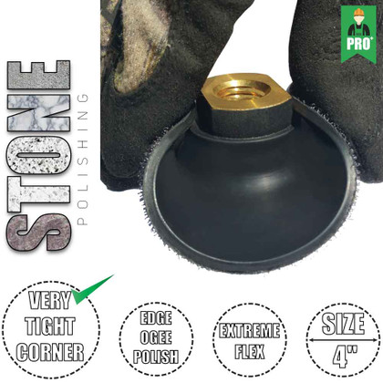 """STADEA Extremely Flexible Rubber Hook and Loop Backing Pad 4"""" Velcro Backing Pad - Arbor 5/8"""" 11, 1 Piece"""