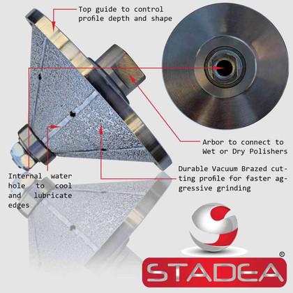 "Diamond Profile Grinding Wheels Bits - Bevel E40 1 1/2"" Marble Stone Granite Profile Edges By STADEA"