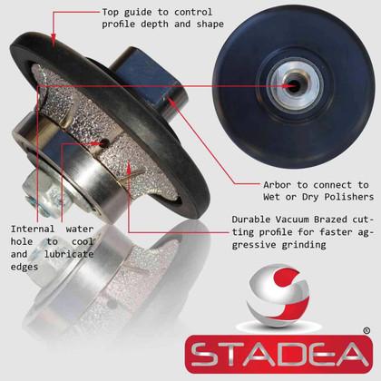 "3/16"" Stone Granite Diamond Profile Wheel For Hand Profiler Marble Demi Half Bullnose Radius B5 Edges Grinding by STADEA"