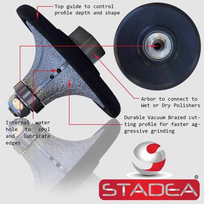 "Stadea Diamond Profile Wheels Radius Half Bullnose Grinding Shaping Demi 1 1/4"" Grinder Marble Tile Stone Concrete Profiling"