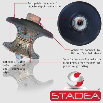 "Stadea Diamond Profile Wheel Full Bullnose For Granite Quartz Stone Counter Edge Profiling - For Hand Grinder Wet Polisher - Sizes 3/4"", 1"", 1 1/4"", 1 1/2"", 2"", 2 1/2"" - Arbor 5/8"" 11, 1 Piece"