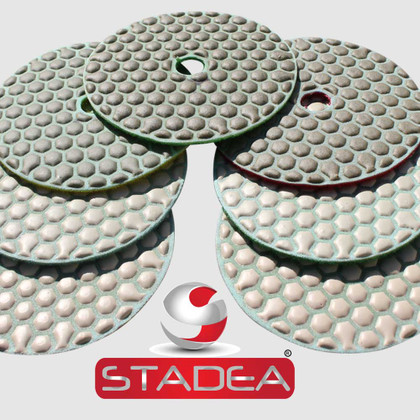 "Diamond Polishing Pads Set 4"" Dry For Granite Marble Stone Concrete Glass Polishing, by Stadea (Series Standard A)"