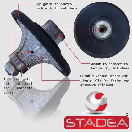 "Stadea Diamond Ogee Profile Wheel Marble Stone Granite Countertop Edge Profiles Shaping, F25 1""  M14 Arbor"