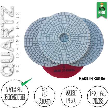 Stadea 3-Step Diamond Polishing Pads Wet for Quartz Polishing, Series Ultra Q