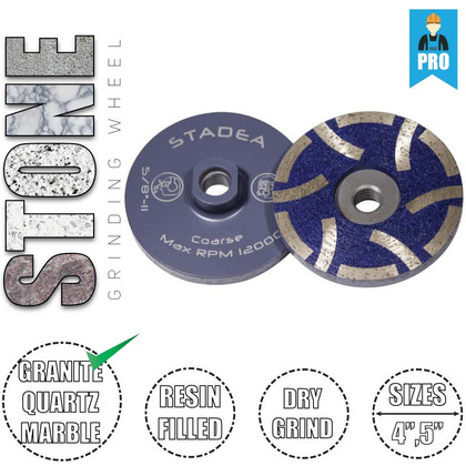 Stadea Diamond Cup Grinding Wheel - Resin Filled - for Granite Stone Quartz Concrete Grinding - Sizes 4 Inch, 5 Inch - Series Super A