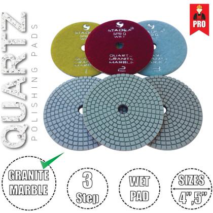 Stadea 3-Step Diamond Polishing Pads for Quartz Engineered Stone Wet Polishing, Series Super Q