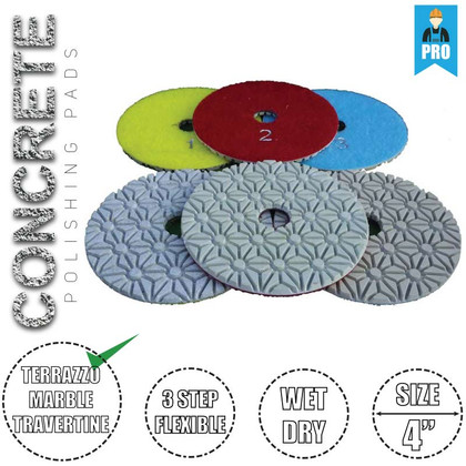 Stadea Diamond Polishing Pads 3-Step for Concrete Travertine Terrazzo Countertop Floor Edges Wet Dry Polishing, Series Super C