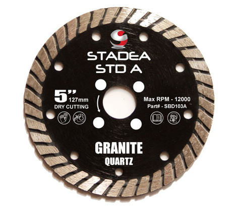 "Stadea Diamond Saw Blade Dry - Granite Quartz Cutting - Turbo Segments, Series Standard A - Available Sizes 5"", 6"""