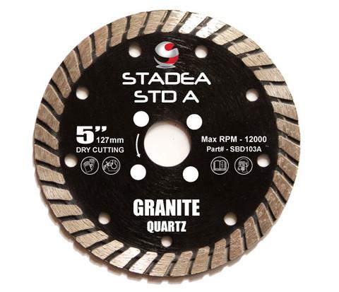 "Stadea Diamond Saw Blade Dry - Granite Quartz Cutting - Turbo Segments, Series Standard A - Available Sizes 5"", 6"""
