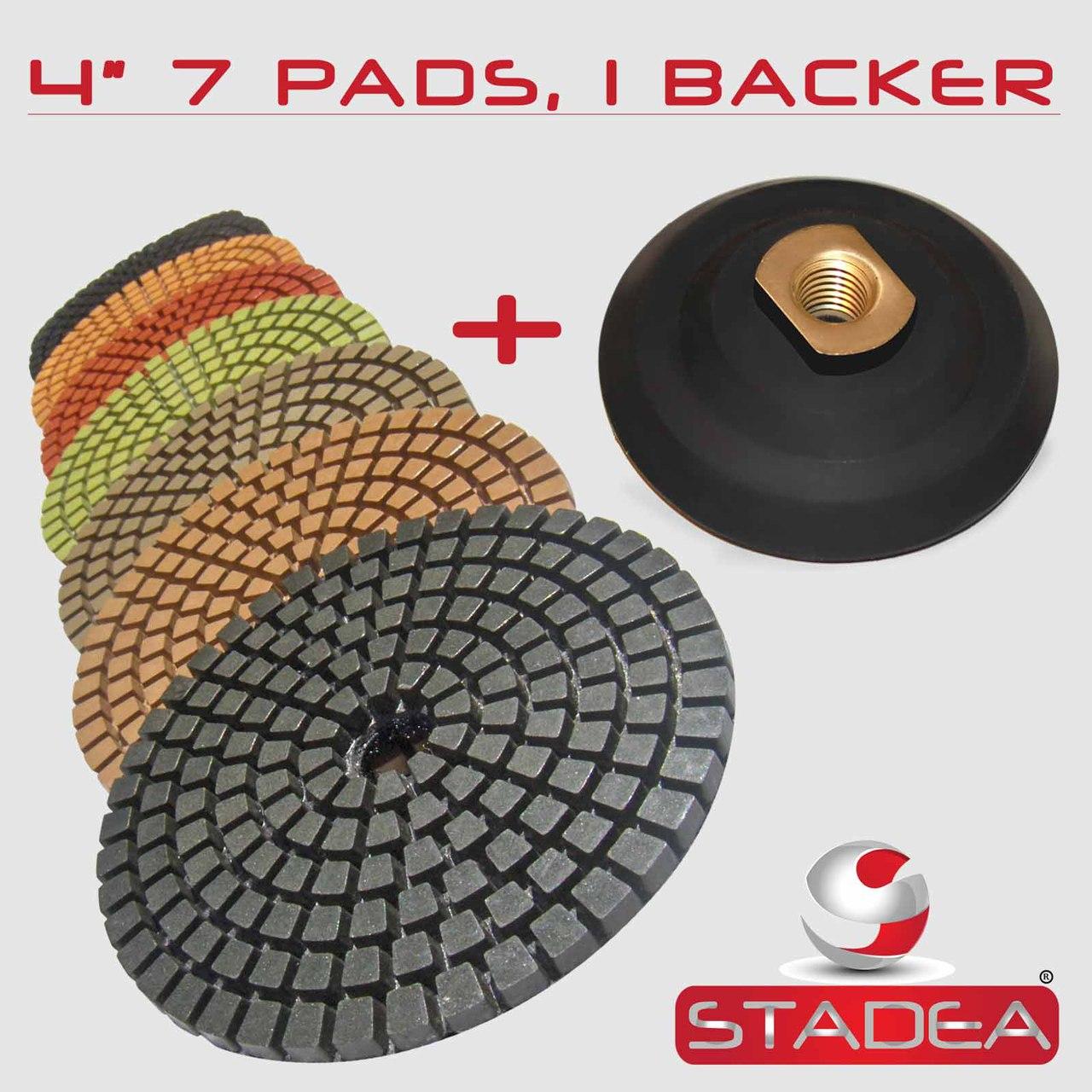 "8Pcs 4/"" Diamond Polishing Pad /& 5//8-11 Thread Backer Pad Granite Marble Concrete"
