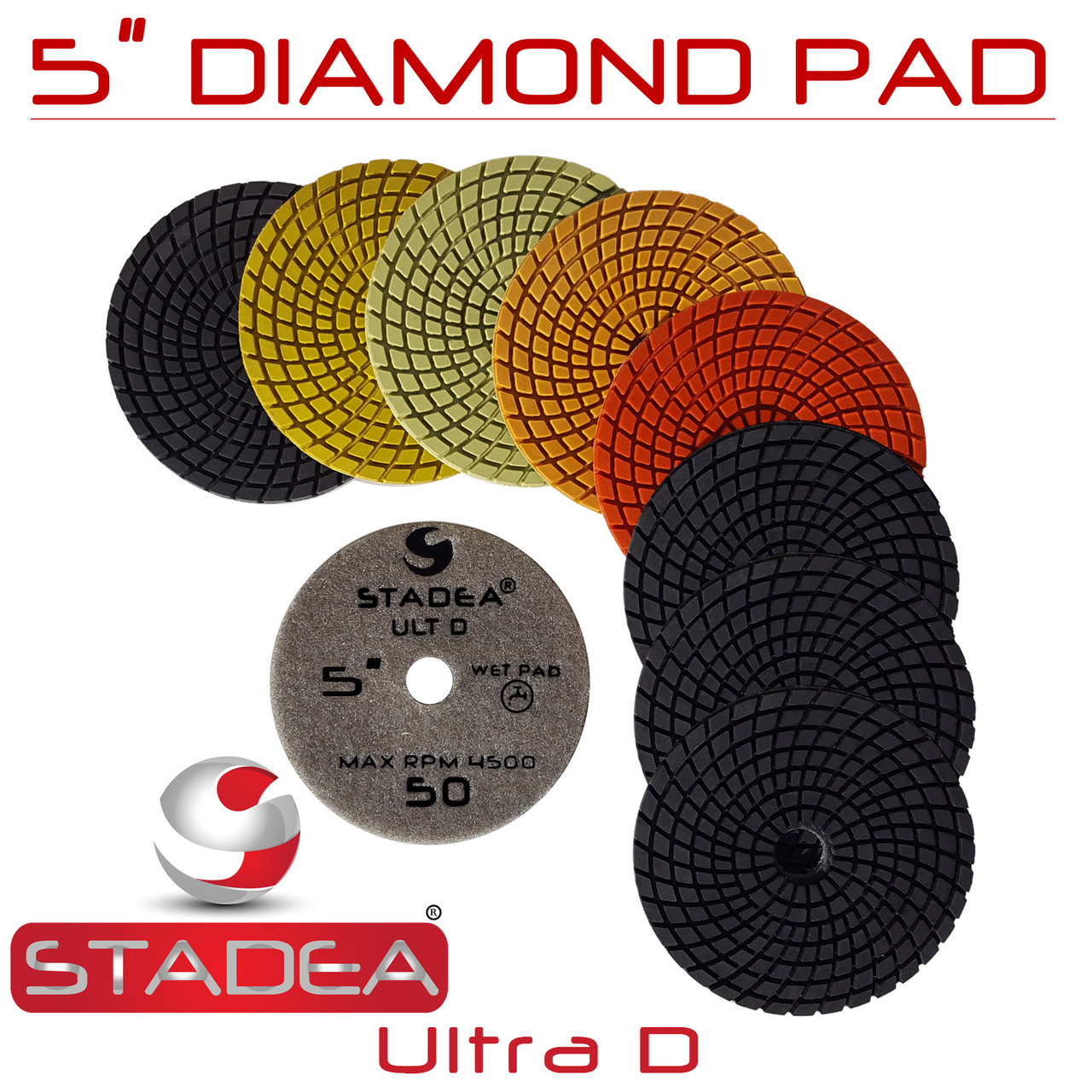"Stadea 5/"" Wet Stone Grinder Polisher with Granite Wet Polisher Polishing Pad Kit"