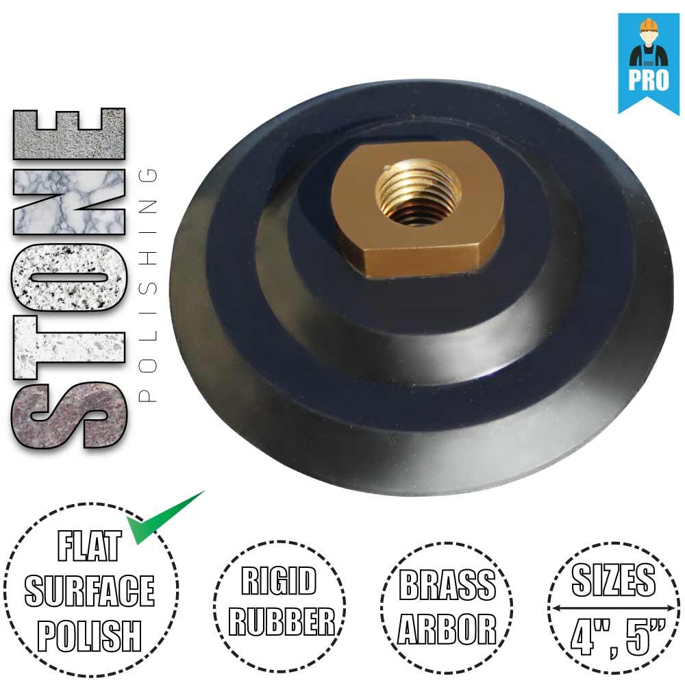 4 Pcs 5 inch Rubber Backer Pad for Stone Granite Marble Polishing Hook /&Loop
