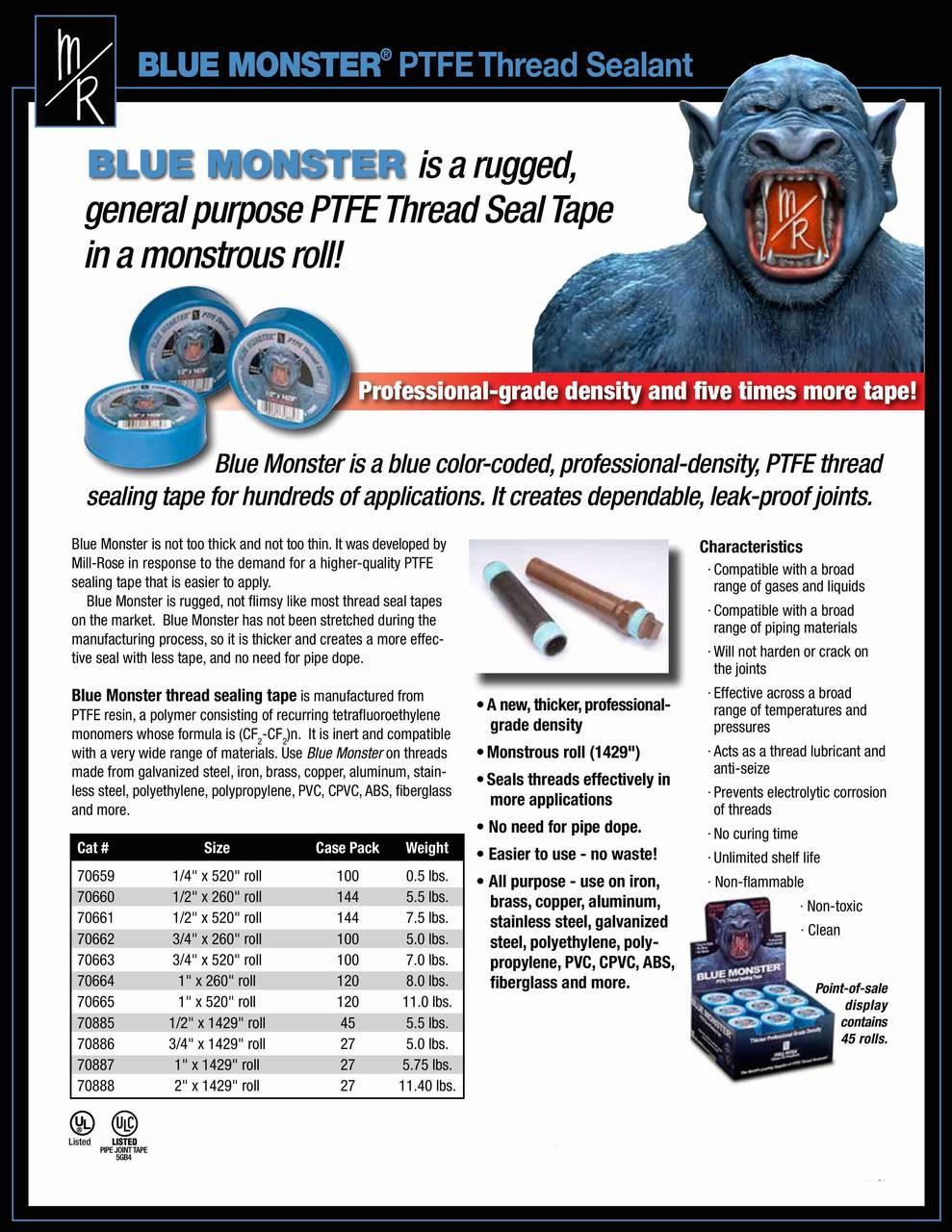 "5 Rolls Teflon Plumbing Thread Seal Tape 1//2 x 520/"""