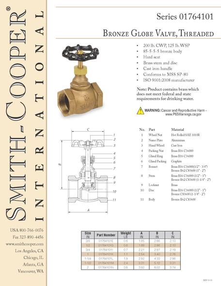 "1 lot 2pcs Smith Cooper 3/"" Bronze Premium Gate Valve #992-F-1"