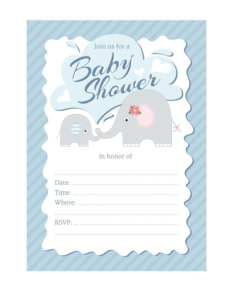 Blue Elephant fill-in style boy baby shower invitation