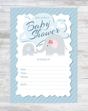 Blue Elephant fill-in style boy baby shower invitation with background