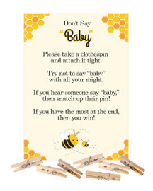 Don't Say Baby Mommy-to-Bee Baby Shower Game with Clothespins