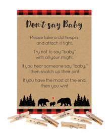 Don't Say Baby Lumberjack Buffalo Plaid Shower Game with Clothespins