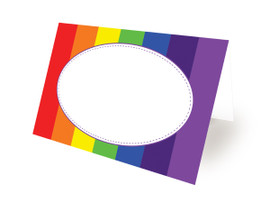 Tent Card Placeholders Classic Rainbow Design - Folded