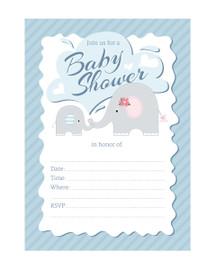 Blue Elephant fill-in style boy baby shower invitation
