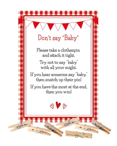 Don't Say Baby Red Gingham BBQ Baby Shower Game with Clothespins