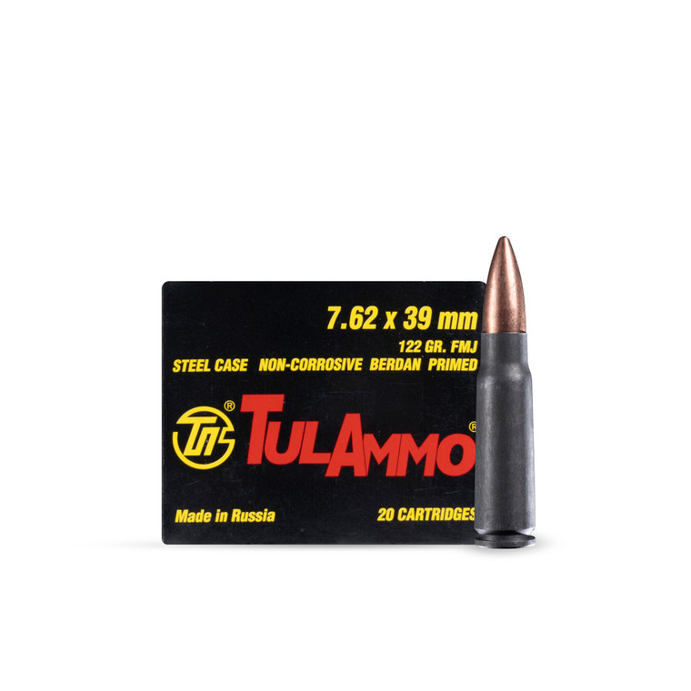7.62X39mm 122GR FMJ TULA Steel Case (100 rounds)