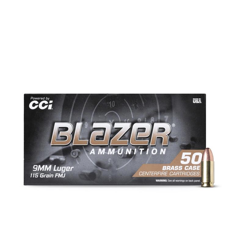 9MM 115GR FMJ CCI Blazer Brass 5200 (1000 rounds)