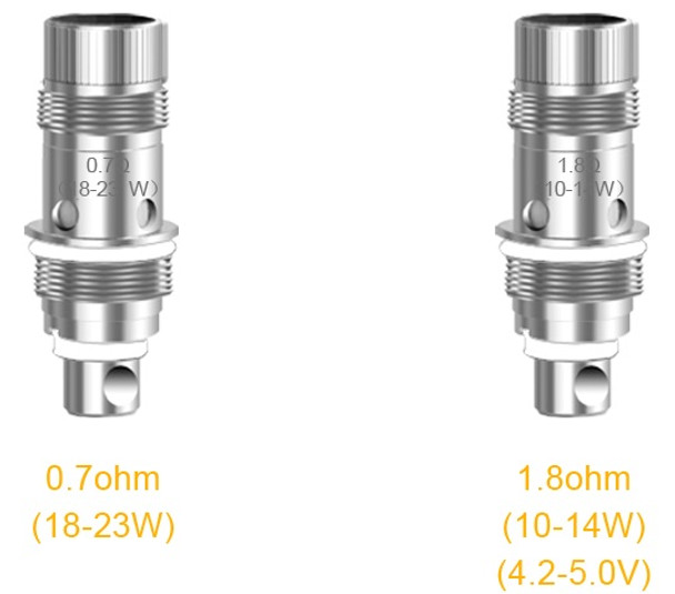 Aspire Nautilus 2 supplied with both 1.7ohm and 1.8oHm coil heads