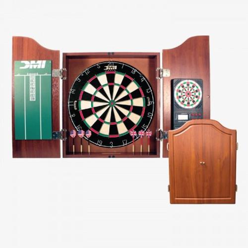 Cherry Dartboard Cabinet w/Electronic Scorer