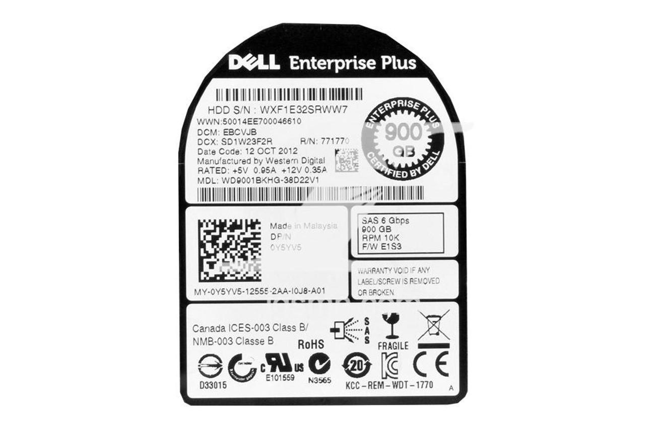 Dell Dell Y5YV5 EqualLogic 900GB 10K 6G 2.5″ SFF SAS Internal Hard Drive
