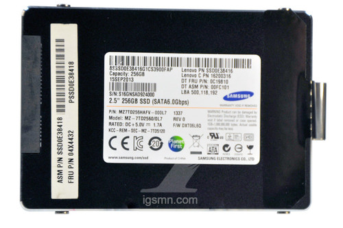 IBM IBM 04X4432 Lenovo 256GB MLC 3Gbps SATA 2.5 SSD Internal Solid State Drive