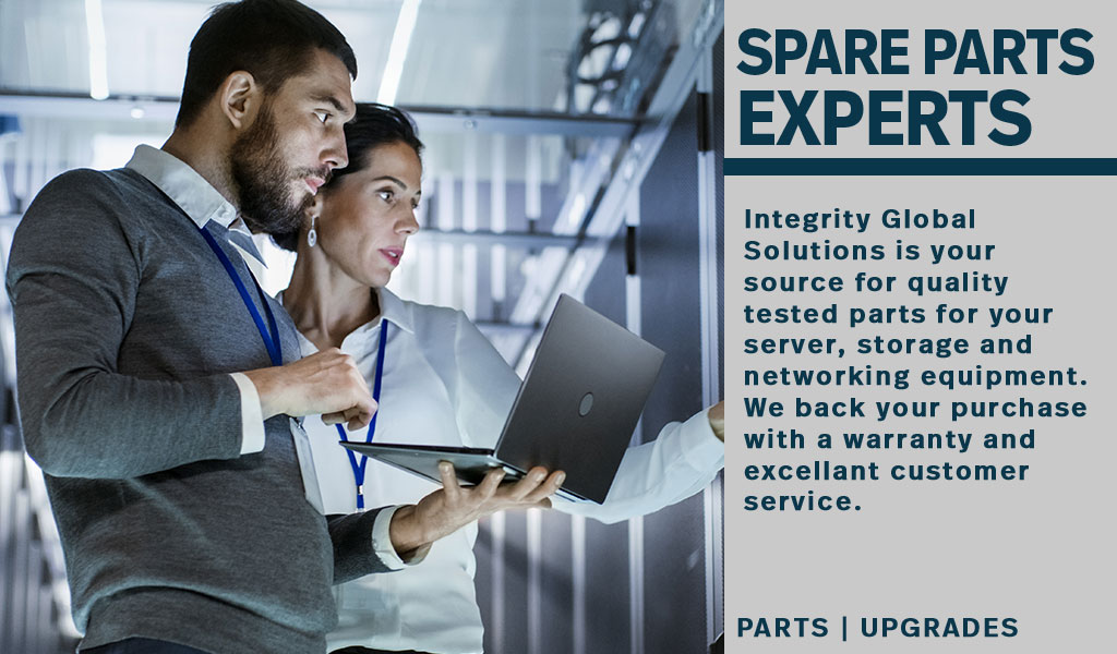 a male and female engineer consulting in front of a server rack. The text reads Spare Parts Experts, Integrity Global Solutions is your source for quality tested parts for your server, storage and networking equipment. We back your purchase with a warrant