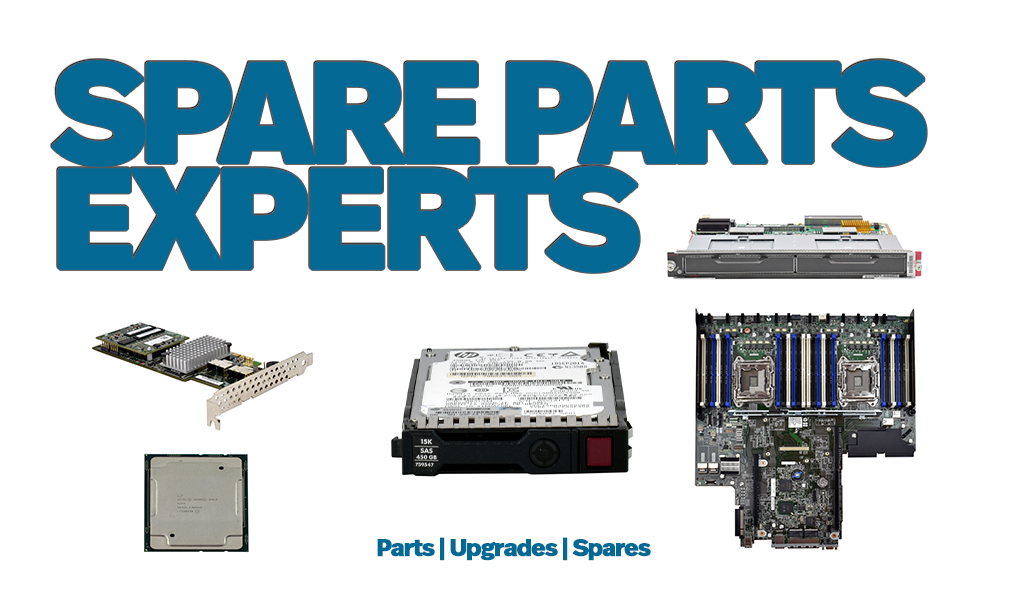 """Test saying """"Spare Parts Upgrades"""" Pictures of Server Parts below  a HDD, CPU, HBA, Systemboard and Network Module. Below that is text reading Parts, Upgrades and Spares"""