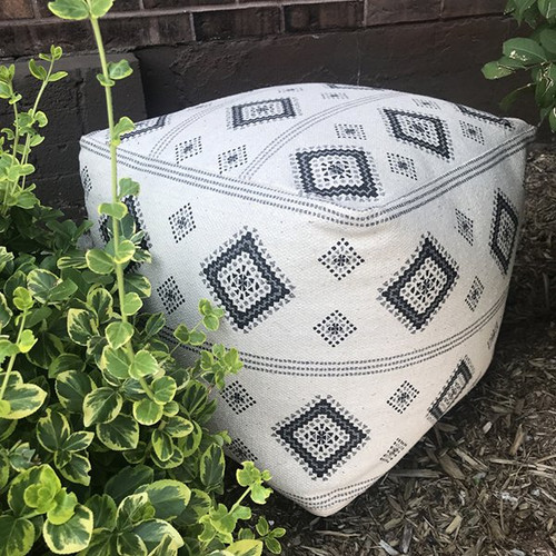 Cream Pouf with Black Rombs