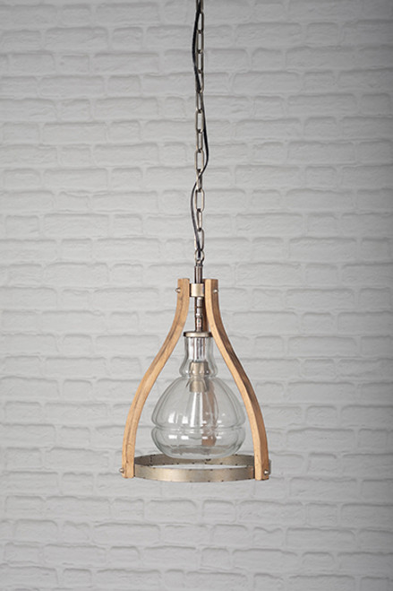 Wooden and Glass Ceiling Lamp