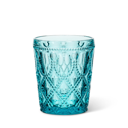 This turquoise decorated tumbler is the perfect way to add a splash of colour at your next special event or outdoor party.