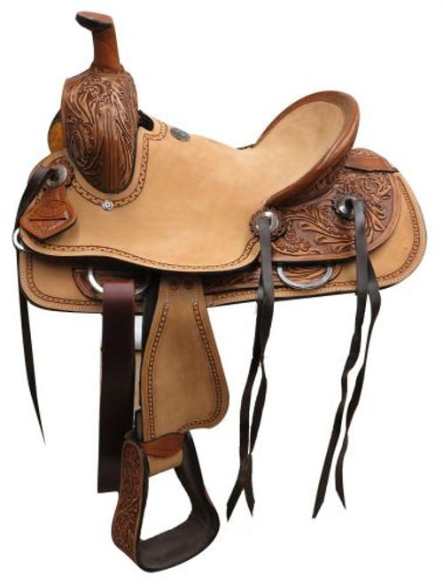 """12"""" Double T  Youth hard seat roper style saddle"""