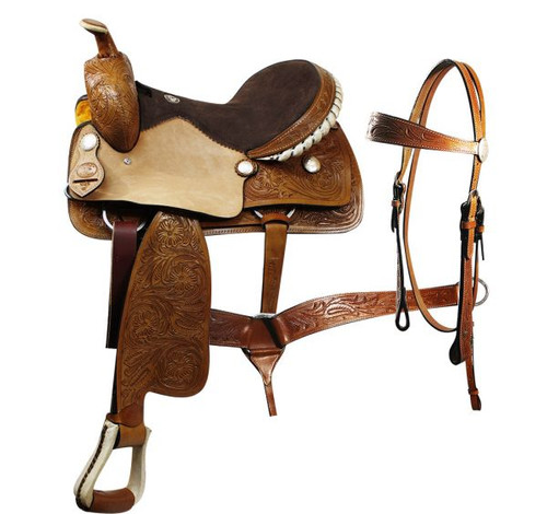 Double T  pleasure saddle with matching headstall and breast collar.