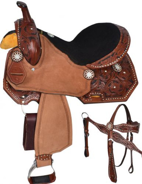 """15"""", 16"""" Double T  barrel style saddle set"""