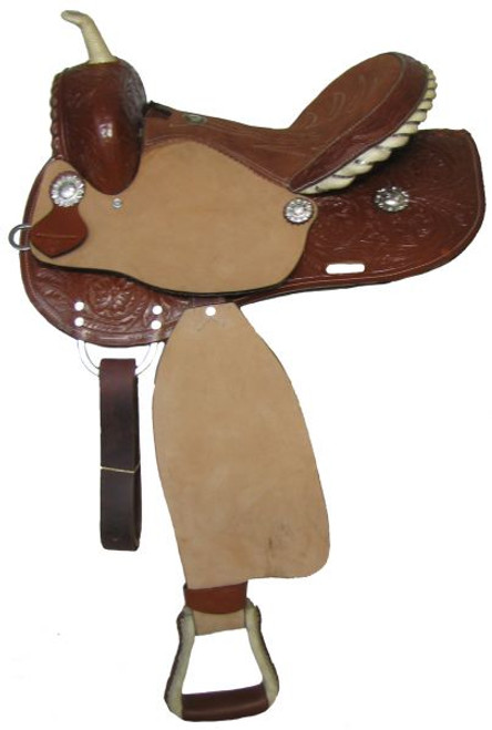 """14"""", 15"""", 16"""" Double T barrel saddle with roughout fenders and jockies"""