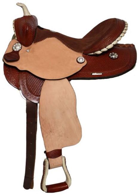 "14"", 15"" or 16"" Double T Barrel Style Saddle Chestnut"