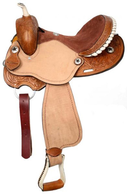 """15"""", 16"""" Double T barrel saddle with silver laced rawhide cantle, roughout fenders and jockies"""