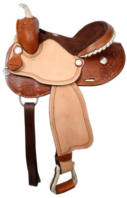 """15"""", 16"""" Double T barrel saddle with silver laced rawhide cantle, roughout fenders and jockies."""