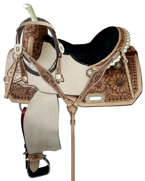 "14"",15"",16"" Circle S Barrel saddle set with Sunflower tooling and matching Bridle & BC Set"
