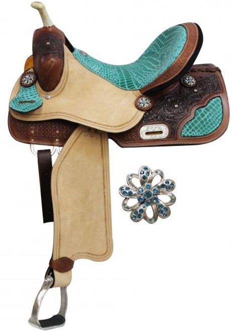 """14"""", 15"""", 16"""" Double T Barrel Style Saddle with Teal Alligator Print Accents."""