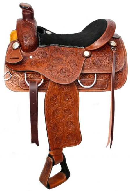 """16"""" Double T Roper Style saddle with suede leather seat"""
