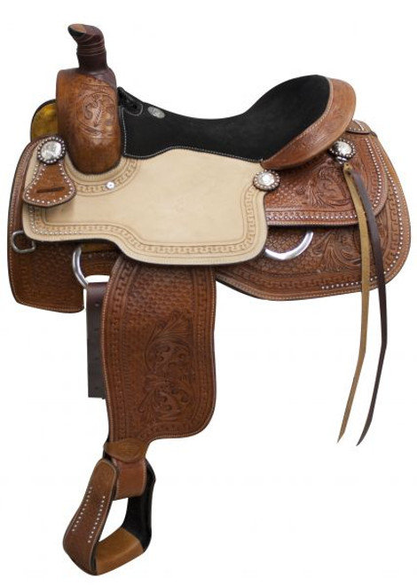 """Double T Roper Style saddle with suede leather seat 16"""", 17"""""""